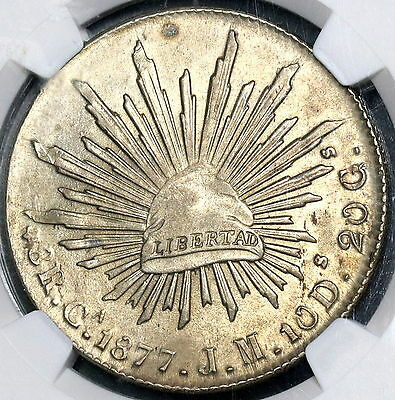1877-Ca JM NGC MS 62 MEXICO Silver 8 Reales Coin Top POP 5/0 (17022801C)