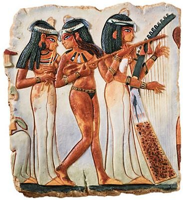 Egyptian Processional Temple Maidens Stele Wall Plaque Sculpture
