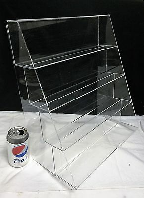 """Acrylic Lucite 16"""" Display Stair Step Riser 3""""d Shelf Flanged Counter Top Store"""