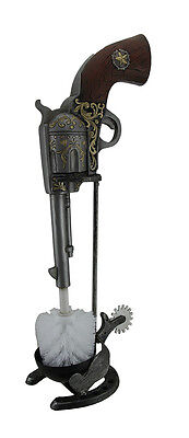Western Revolver and Spur Decorative Toilet Brush and Holder Set