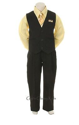 New Toddler Boys Yellow & Black Vest Suit Outfit Easter Christmas Wedding 4 Pc