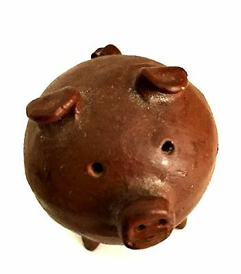 Vintage Little Brown Pig Hand Crafted 2.25 inches Tall Folk Art Ceramic Piglet