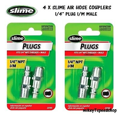 """4x SLIME 1/4"""" AIR HOSE COUPLER quick CONNECTOR FITTINGS male THREAD compressor"""