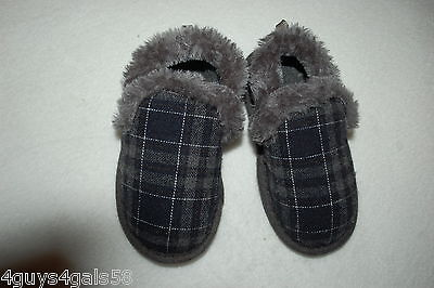 Toddler Boys Slippers GRAY & BLUE PLAID In/Outdoor S 5-6 M 7-8 L 9-10 XL 11-12