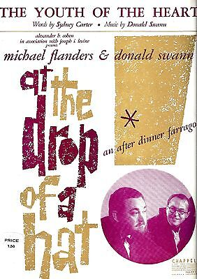 """Michael Flanders """"AT THE DROP OF A HAT"""" Donald Swann 1959 Broadway Sheet Music"""