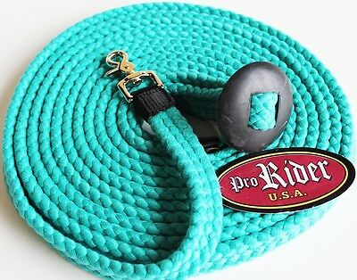 25 ft Cotton Lunge Line Rubber Hand Stop Snap Horse Tack 98LungeLine