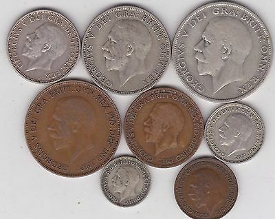 1928 George V Part Set Of 8 Coins In Fine Or Better Condition