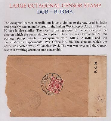 Burma Military Expedition Dgb Censored Cover With Experimental 36 Cancel