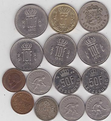 14 Coins From Luxembourg Dated 1901 To 1991