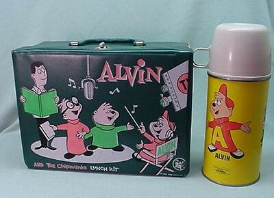 NM Vintage Rare 1963 Alvin and the Chipmunks green vinyl lunch box and thermos