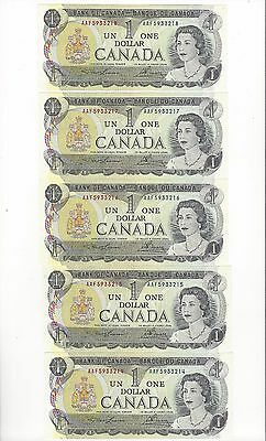 **1973**Canada $1 Note, Lawson/Bouey # AAF 5933214-18  BC-46a-i (5 sequential)