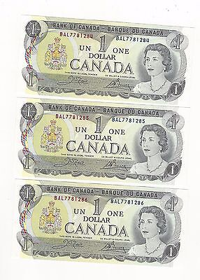 **1973**Canada $1 Note, Crow/Bouey # BAL 7781284-86 BC-46b (3 Seq Notes)