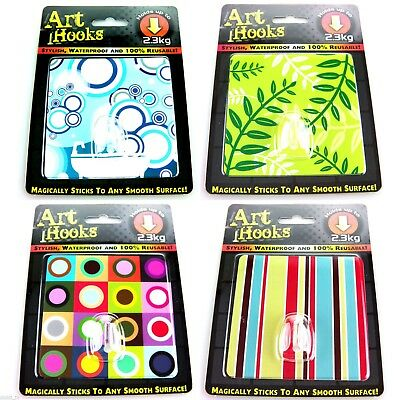 Wholesale lot 72 x ART HOOKS Peel & Stick Stylish Reusable Hooks - 4 designs