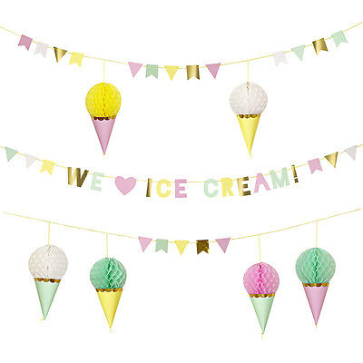 We Love Ice Cream Pretty Pastel Bunting Flag Pennant Banner Honeycomb Decoration