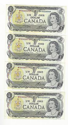 **1973**Canada $1 Note, Crow/Bouey # BFK 4225709-12 BC-46b (4 Seq Notes)
