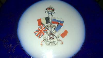 Antique 'First World War' Military Plate 'For Right & Freedom' Woods & Son