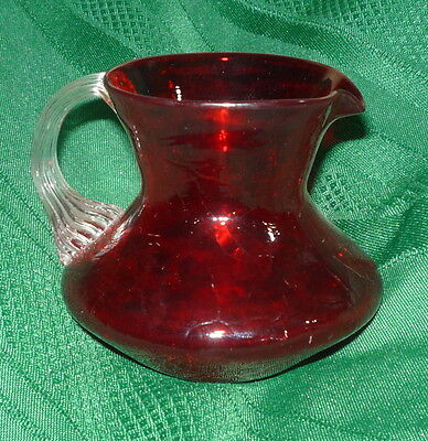"Vintage 3"" Ruby Red Crackle Glass Small Squat Clear Rib Handle Pitcher Creamer"