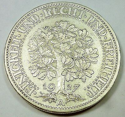 1927-A Germany / Weimar Republic 5 Reichsmark - AU About Uncirculated Condition