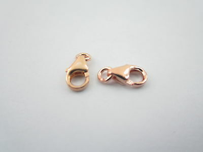 2 moschettoni mini in argento 925 placcati oro rosè made in italy misur 7x4,5 mm