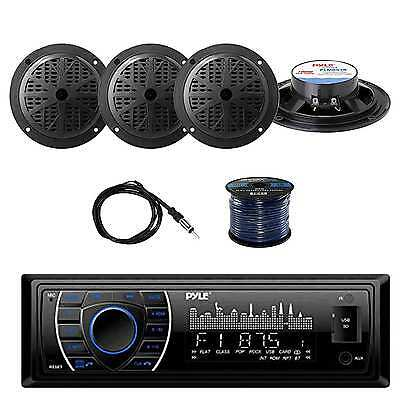 Bluetooth Stereo(Black) w/Pyle Marine Speakers, Marine Antenna & Speaker Wire