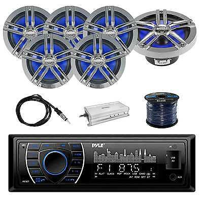 PLRMR27BTB In-Dash Stereo w/Enrock 2-Way Loud-SPKR, Antenna, Amplifier & Wire