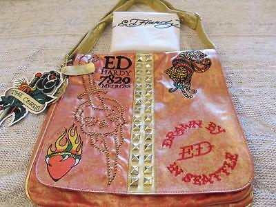 5b02a1dd3c Ed Hardy Christian Audigier Gold Orange Mouche Graphic Messenger Handbag NWT