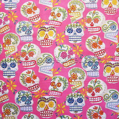CALAVERAS SKULLS METALLIC BY ALEXANDER HENRY COTTON FABRIC BTY FH-2667 CLOTHING