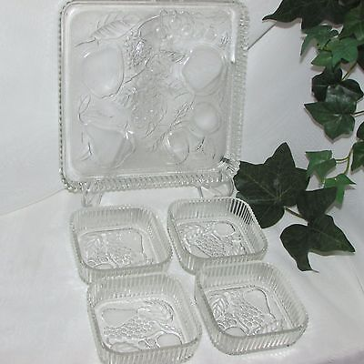 FRUITS by INDIANA GLASS SQUARE SNACK SET TRAY NAPPY CLEAR DEPRESSION GLASS DISH