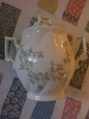 Karlsbad Imperial China Tea Caddy Pot Blue Flowers