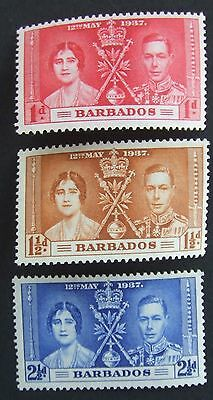 1937 set of Barbados Coronation mint stamps