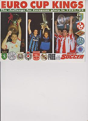 Euro Cup Kings 1991-92 Arsenal Anderlecht Barcelona Given With World Soccer