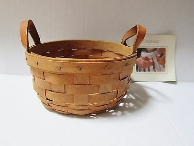 "Longaberger Basket Round 3 1/2""x 7"" With Leather Handles Signed and Dated 1993"