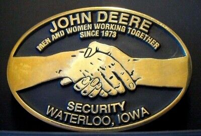 John Deere 1997 SECURITY Belt Buckle Waterloo Employee #69 of 75  handshake men