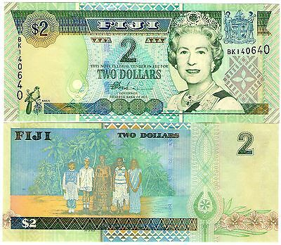 Fiji Queen Elizabeth Two Dollar Banknote Uncirculated