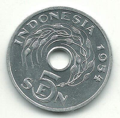 High Grade Bu 1954 Indonesia 5 Sen Coin-May820