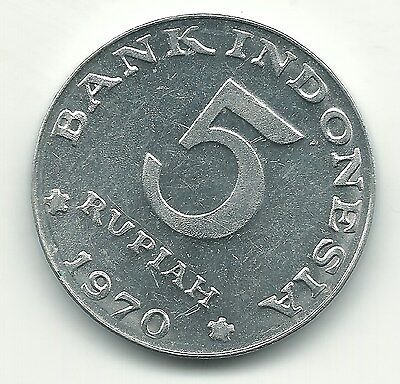 High Grade Au 1970 Indonesia Aluminum 5 Rupiah Coin-May824