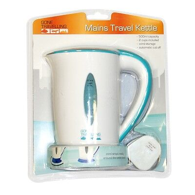 500ml Mains Travel Kettle With 2 Cups - Boyztoys Ry723 Universal Voltage