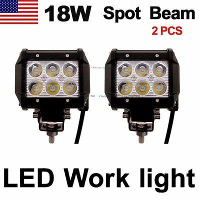 2pcs 18W Cree LED Work Light Bar Driving Fog Spot Lamp Offroad SUV ATV 4WD US