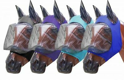 Showman ® Lycra® Zipper fly mask with ears horse size large