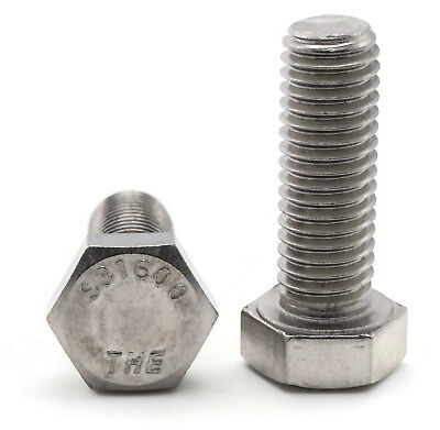 316 Stainless Steel Hex Cap Screw Bolt FT UNC 5/16-18 x 7/8, Qty 25