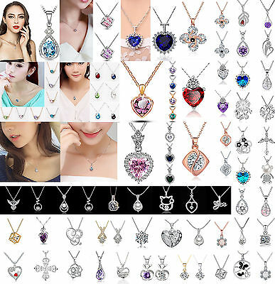 Women Fashion Jewelry 925 Silver Necklace Short Paragraph Clavicle Chain Pendant