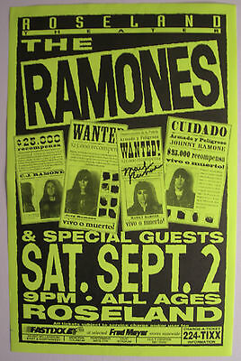 Ramones Concert Tour Poster 1995 Autographed By Marky Ramone