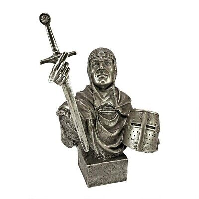 Medieval Knight Triumphant Victory Sculpt Medieval Crusader Faux Bronze Statue