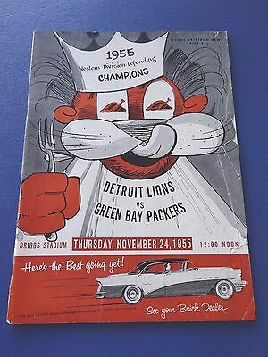 1955 Green Bay Packers at Detroit Lions Football Program, Thanksgiving Day