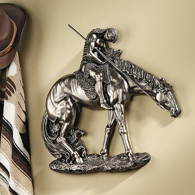 End Of the Trail Native American Indian Tribute Bronze Finish Wall Sculpture