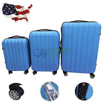 3PCS Luggage Travel Set Bag ABS Trolley Hard Shell Suitcase w/TSA lock Blue