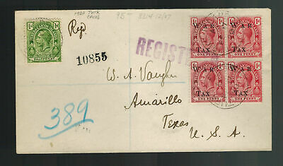 1920 Turks Caicos Islands Cover to USA War Tax Overprints Registered