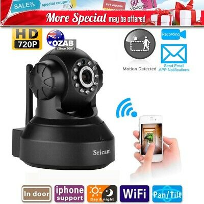 Sricam 720P HD IP Camera Black Wireless WiFi Security Indoor Night Vision AU