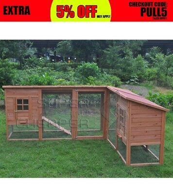 XXL Large Wooden Rabbit Hutch Chicken Hen Coop Ferret cage Twin Houses