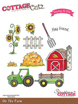 Cottage Cutz Stamps & Die Set - On the Farm, Tractor, Sunflower, Barn, Haystack